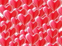 Fondo rojo de los corazones 3d en blanco. Foto de archivo