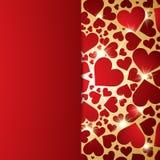 Fondo rojo de los corazones Fotos de archivo