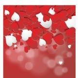 Fondo rojo de los corazones Fotografía de archivo libre de regalías