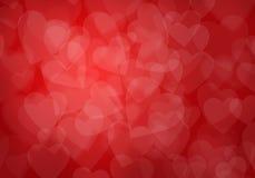 Fondo rojo de los corazones del día de tarjeta del día de San Valentín Imagen de archivo libre de regalías