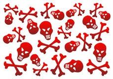 Fondo rojo de los cráneos Imágenes de archivo libres de regalías