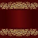 Fondo rojo de lujo con las fronteras reales de oro Fotos de archivo libres de regalías