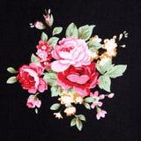 Fondo rojo de Rose Fabric, fragmento de la tapicería retra colorida Imagenes de archivo