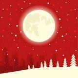 Fondo rojo de tarjeta de Navidad el noche de la luna del invierno Illus del vector ilustración del vector