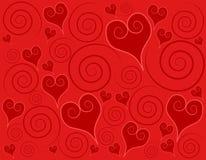 Fondo rojo decorativo de los remolinos de los corazones Imagen de archivo libre de regalías