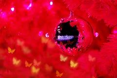 Fondo rojo del árbol de la Navidad Imágenes de archivo libres de regalías