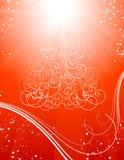 Fondo rojo del árbol de navidad con las estrellas Imagenes de archivo