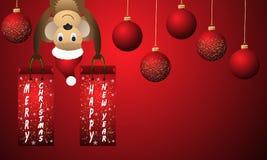 Fondo rojo del Año Nuevo con las bolas y el mono de la Navidad Fotografía de archivo libre de regalías