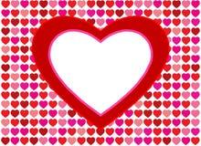 Fondo rojo del amor de los corazones Fotografía de archivo