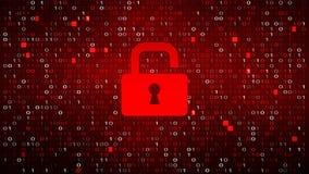 Fondo rojo del código binario de la tecnología con la cerradura libre illustration