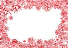 Fondo rojo del copo de nieve Fotos de archivo libres de regalías