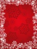 Fondo rojo del copo de nieve Imagenes de archivo