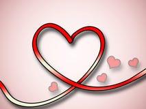 Fondo rojo del corazón con los pequeños corazones Fotografía de archivo libre de regalías
