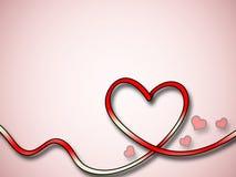 Fondo rojo del corazón con los pequeños corazones Fotos de archivo libres de regalías