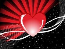 Fondo rojo del corazón con los rayos y la ilustración del amor Imagen de archivo libre de regalías