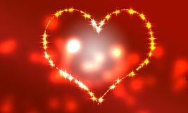 Fondo rojo del corazón de la luz que comienza al overf Foto de archivo