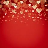 Fondo rojo del día de San Valentín de los corazones ilustración del vector