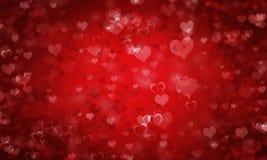 Fondo rojo del día de tarjeta del día de San Valentín con los corazones foto de archivo libre de regalías
