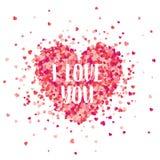 Fondo rojo del día de tarjetas del día de San Valentín con los corazones Símbolo del amor 14 de febrero Te amo Sea mi tarjeta del stock de ilustración