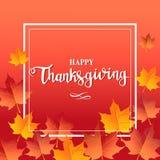 Fondo rojo del día feliz de la acción de gracias con las hojas de arce Imagenes de archivo