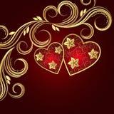 Fondo rojo del día del ` s de la tarjeta del día de San Valentín con los corazones y swi floral de oro Imagen de archivo libre de regalías