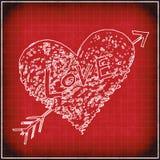 Fondo rojo del grunge con el corazón abstracto blanco Fotografía de archivo
