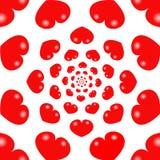 Fondo rojo del infinito de los corazones stock de ilustración