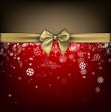 Fondo rojo del invierno con el arco del oro Fotos de archivo