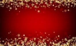 Fondo rojo del invierno con los copos de nieve Foto de archivo