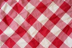 Fondo rojo del material de la tela escocesa Foto de archivo libre de regalías