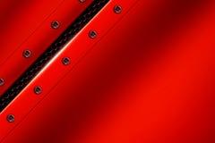 Fondo rojo del metal con el remache en malla metálica gris Fotos de archivo libres de regalías