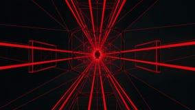 fondo rojo del movimiento de Loopable del túnel del estilo de 3D Tron libre illustration
