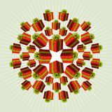 Fondo rojo del regalo de la mandala ilustración del vector