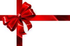 Fondo rojo del regalo del arco Foto de archivo