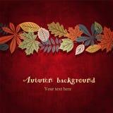 Fondo rojo del vector del otoño Imágenes de archivo libres de regalías