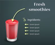 Fondo rojo fresco del concepto del smoothie, estilo realista Foto de archivo