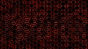 Fondo rojo futurista del extracto geométrico con hexágonos con los rayos ligeros stock de ilustración