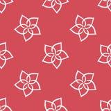 Fondo rojo geométrico floral con el modelo inconsútil de las flores blancas Imagen de archivo