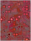 Fondo rojo hecho con los círculos y los cuadrados redondeados stock de ilustración