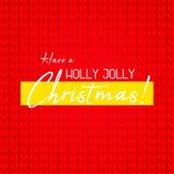 Fondo rojo hecho punto Cierre del suéter encima de la visión con saludos Tenga Holly Jolly Christmas stock de ilustración