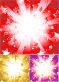 Fondo rojo radiante con las estrellas Imágenes de archivo libres de regalías