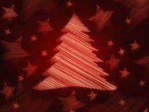 Fondo rojo retro con el árbol de navidad y las estrellas Imagen de archivo