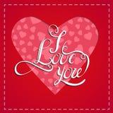 Fondo rojo romántico del corazón Ejemplo del vector para el diseño del día de fiesta Para la invitación de boda, saludos del día  Foto de archivo libre de regalías