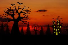 Fondo rojo sangriento de la puesta del sol de Halloween con los árboles, el castillo y los palos muertos terribles stock de ilustración