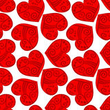 Fondo rojo tribal inconsútil de los corazones Imagen de archivo