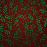 Fondo rojo/verde del vintage floral Foto de archivo libre de regalías