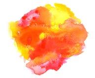 Fondo rojo vivo de la acuarela del amarillo anaranjado Imagenes de archivo
