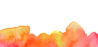Fondo rojo vivo de la acuarela del amarillo anaranjado Imagen de archivo