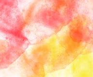 Fondo rojo y anaranjado abstracto de la acuarela Fotos de archivo