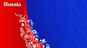 Fondo rojo y azul del fútbol con el ornamento simbólico ruso stock de ilustración